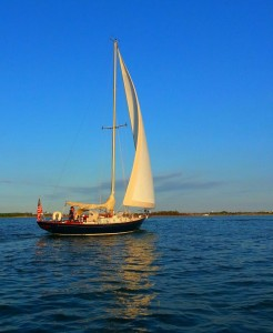 Hinckley sailing gracefully in the fading afternoon sun
